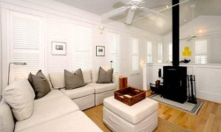 Cottage Living Room w/ Fireplace