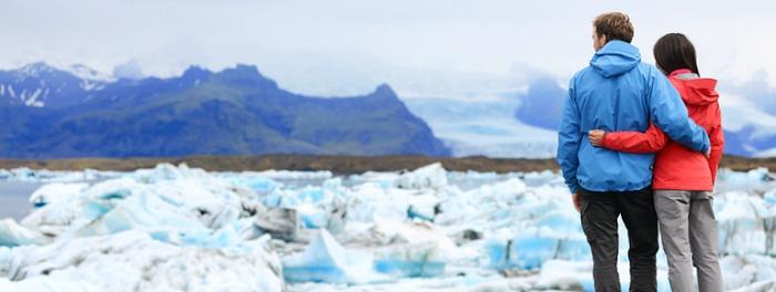 Alaska Honeymoon Couple and Glacier