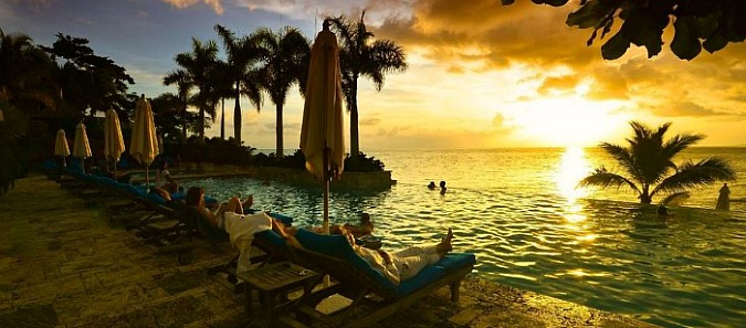 Romantic Caribbean Resort Sunset