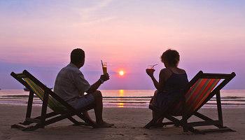 couple 25th anniversary trip sunset
