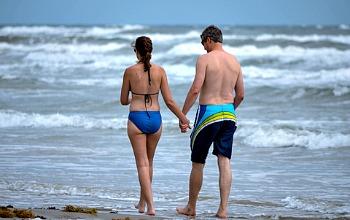 Honeymoon Couple on a Texas Beach