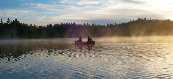 Couple Canoeing in the Adirondacks, NY