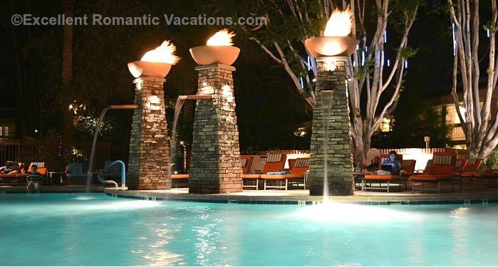FireSky Resort Pool at Night