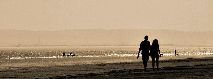 Romantic Honeymoon Couple on the Beach