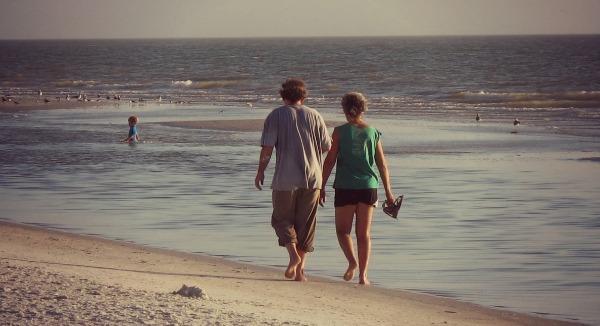 Couple Walking on a Florida beach