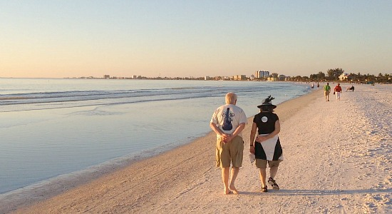 Couple Walking along the Romantic Florida Gulf Coast